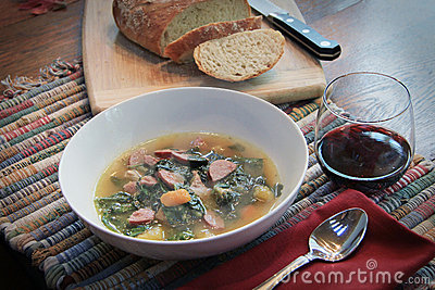 Soup Wine and Bread