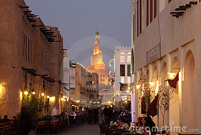 Souq Waqif at dusk, Doha Qatar Editorial Stock Image