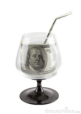 Free Source Of Finance. Money Drink In Footed Glass. Royalty Free Stock Images - 13410199