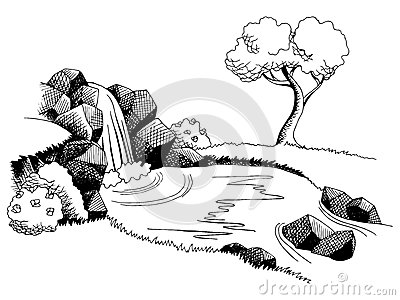 Source waterfall graphic art black white landscape illustration Vector Illustration