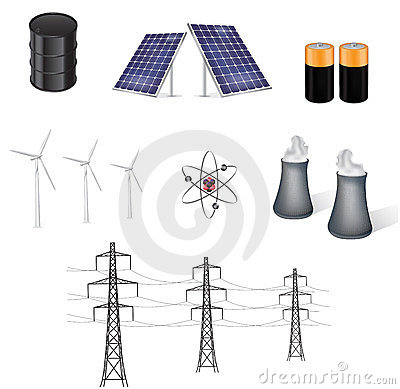 Sources of energy vector illustration