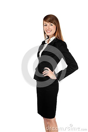 Sourire de femme d affaires. D isolement sur le blanc