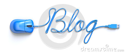 Souris et câble bleus sous forme de Word-blog
