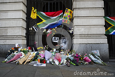 South Africa House in Trafalgar Square, London.Commemoration of Nelson Mandela. Editorial Stock Photo