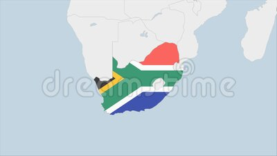 South Africa map highlighted in South Africa flag colors and pin of country capital Pretoria. Map with neighboring African countries stock illustration