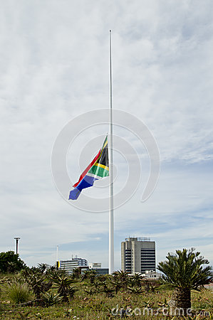 South African flag at half mast