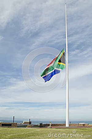 South African flag at half mast
