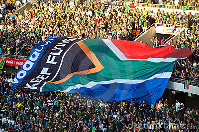 South African Flags at a Rugby game Editorial Stock Photo