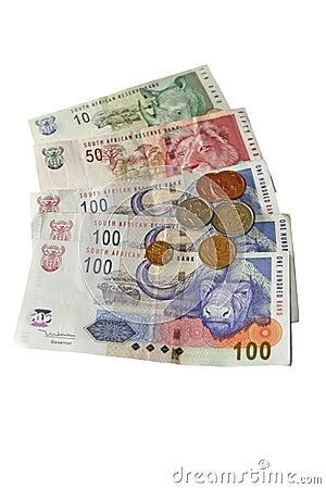 Zuid-Afrikaanse Geld Op Wit