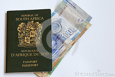 South African Passport with Currency Notes