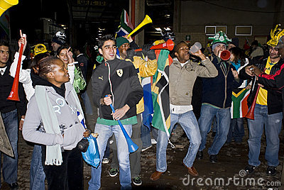 South African Soccer Fans Celebrating Editorial Image