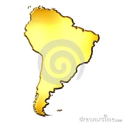 South America 3d Golden Map