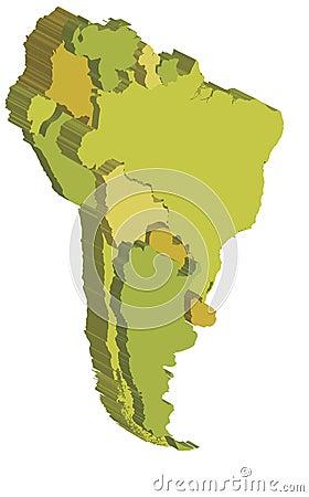 South america 3d map
