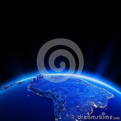 South America city lights at night