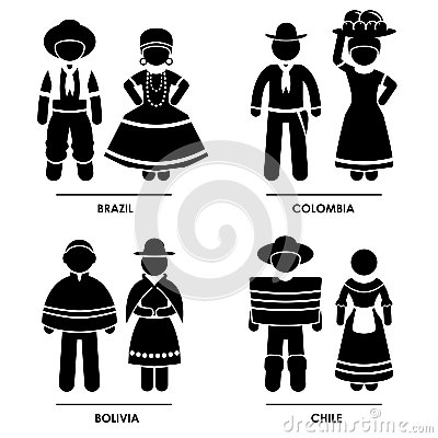 set of pictograms representing people clothing from Brazil, Colombia ...