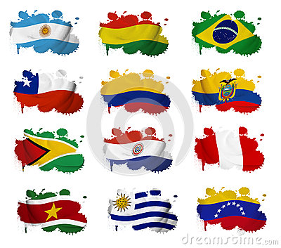 South America countries flag blots