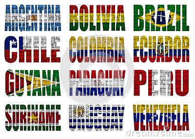 South America countries flag words