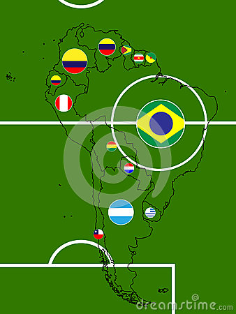 South America Football Map Circles