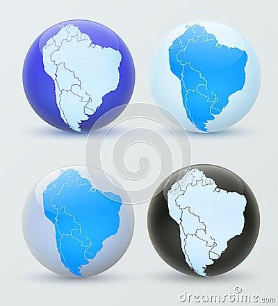 South America on a globe.