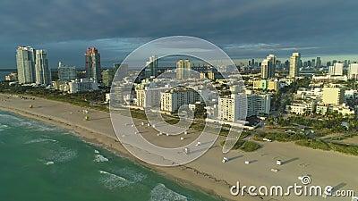 South Beach e Miami Downtown Urban Skyline Vista aerea stock footage