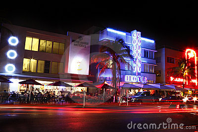 South Beach hotels Night Editorial Image