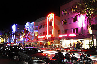 South Beach hotels at night Editorial Stock Photo