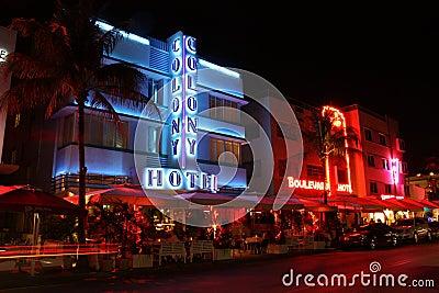 South Beach Miami Hotels Editorial Stock Photo