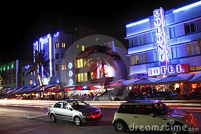 South Beach Miami Night Editorial Stock Image