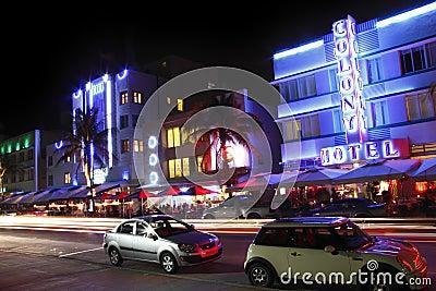 South Beach Miami Night Editorial Stock Image