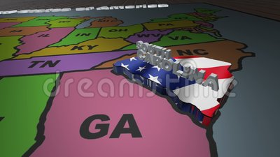 South Carolina pull out from USA states abbreviations map stock video