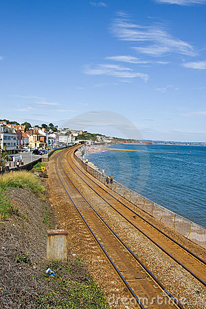 South Devon Railway Sea Wall Editorial Stock Photo