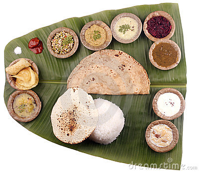 South indian lunch on banana leaf + clipping mask