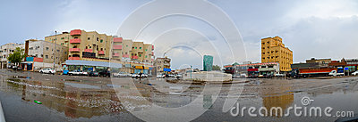 South jeddah city after heavy rain with cloudy gray
