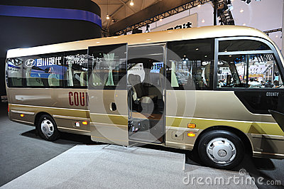 South Korea hyundai  COUNTY bus Editorial Photo