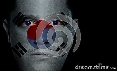 South Korean Flag - Male Face