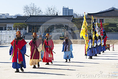 South Korean Palace Guards in winter uniform Editorial Image
