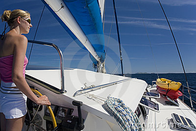 South Pacific Ocean - Girl on a catamaran
