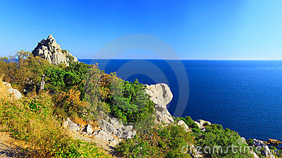 South part of Crimea peninsula, beach   landscape.