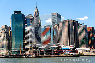South Street Seaport and other landmark and modern buildings of