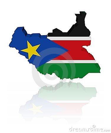 South Sudan map flag with reflection
