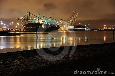 Southampton commercial container port by night.