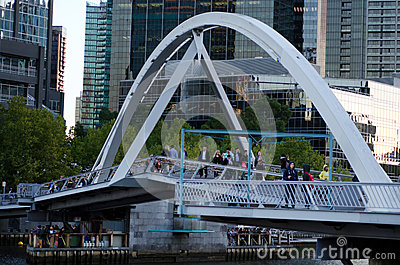 Southbank Foot Bridge - Melbourne Editorial Stock Image