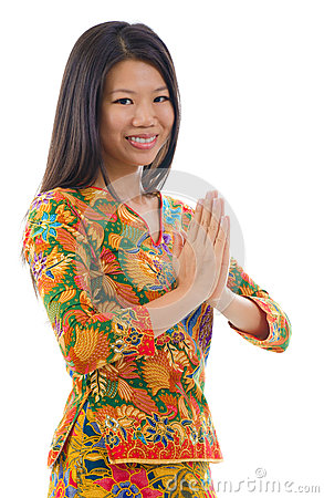 Southeast Asian girl greeting