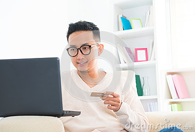 Southeast Asian male online shopping