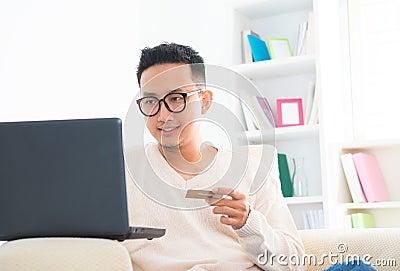 Southeast Asian male online shopping