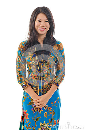 Southeast Asian woman in traditional batik kebaya