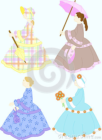 Southern belle dolls inspired by quilting scrapbooking