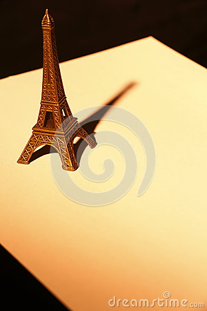 Souvenier Eiffel Tower on paper close up