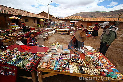 Souvenir Bazaar in Raqchi. Peru Editorial Stock Photo