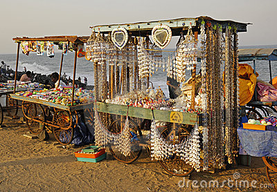 Souvenir cart on the beach in Pondicherry Editorial Stock Image